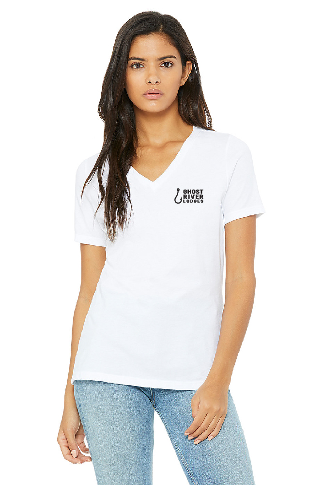 Ghost River Lodges - Ladies White Vneck