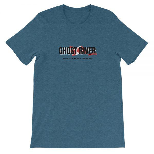Ghost River Lodges – Mens Heather Deep Teal Classic Tshirt – Flat.jpg