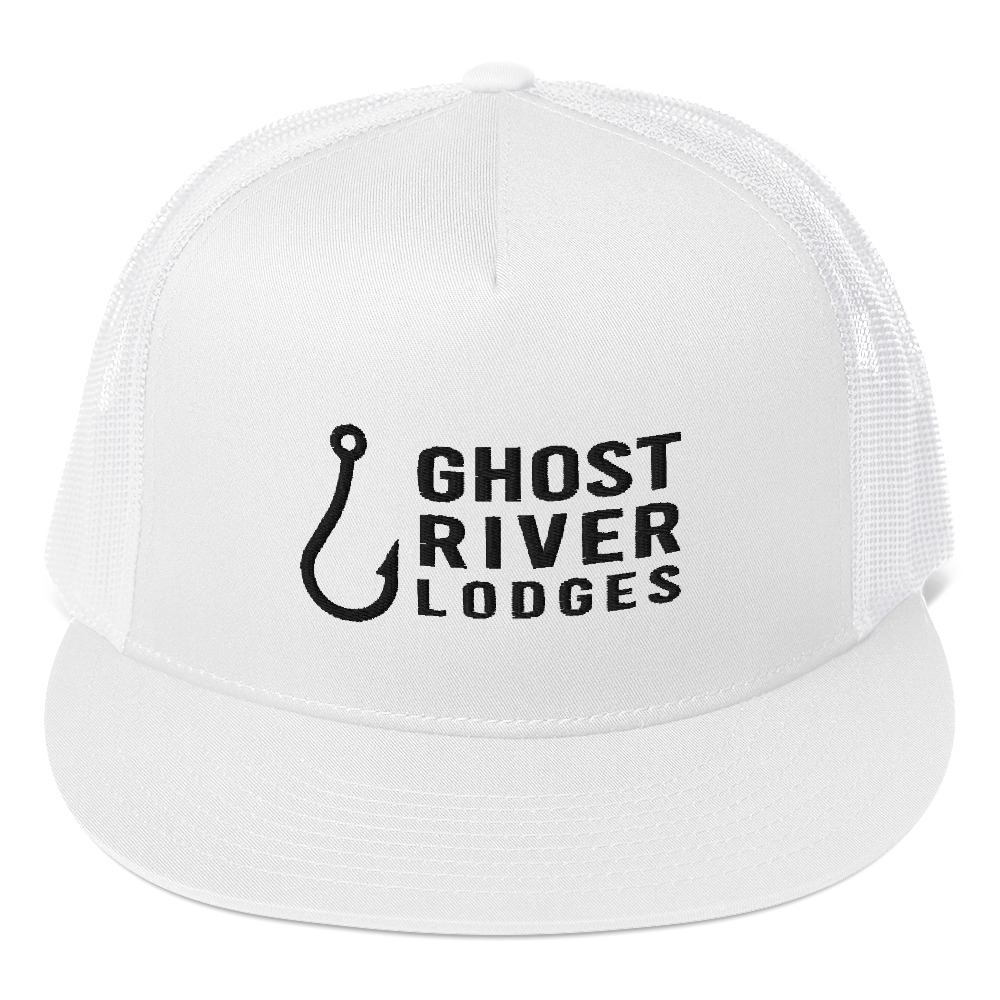 Ghost River Lodges - Trucker Hat - Hook Logo - White